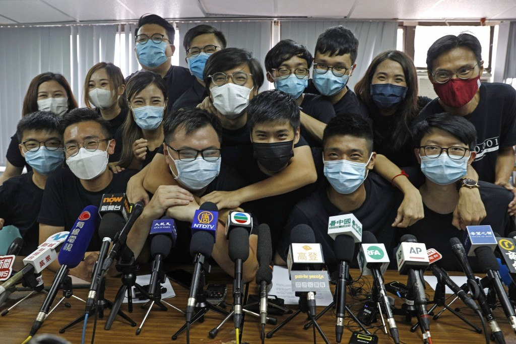 Hong Kong pro-democracy activists on July 15 after being selected in unofficial primary.