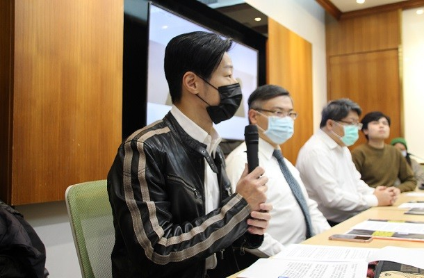 Legislator Freddy Lim speaks in response to Jan. 6 mass arrests in Hong Kong under national security law.