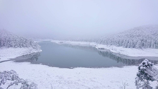 Snow on Taiping Mountain (Luodong Forest District Office photo)