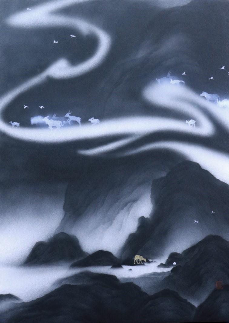 藝術家呂浩維透過機械工業的媒材─噴槍融入文人水墨畫。(照片來源:新北市文化局提供)