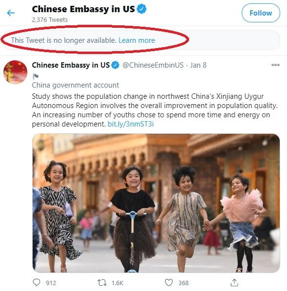 Twitter 封鎖中國駐美使館帳號 因替北京強制維吾爾族婦女絕育辯護