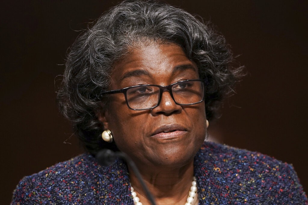 US Ambassador to UN nominee Linda Thomas-Greenfield testifies during for her confirmation hearing.