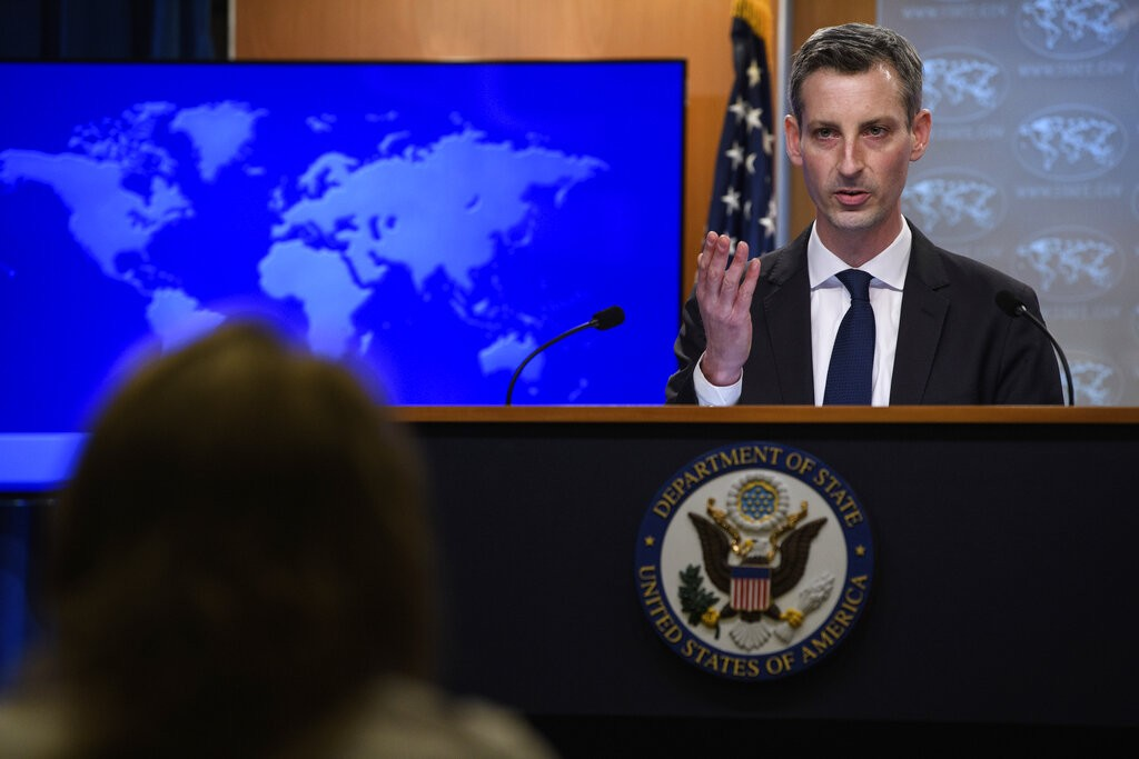 State Department spokesperson Ned Price speaks during his first press briefing at the State Department in Washington, Tuesday, Feb. 2, 2021. (Nicholas...