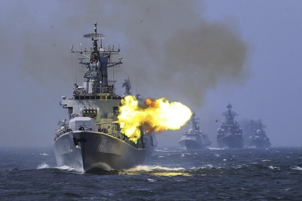 Chinese warships during exercise