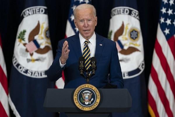 U.S.President Joe Biden delivers remarks to State Department staff, Thursday, Feb. 4, 2021, in Washington.