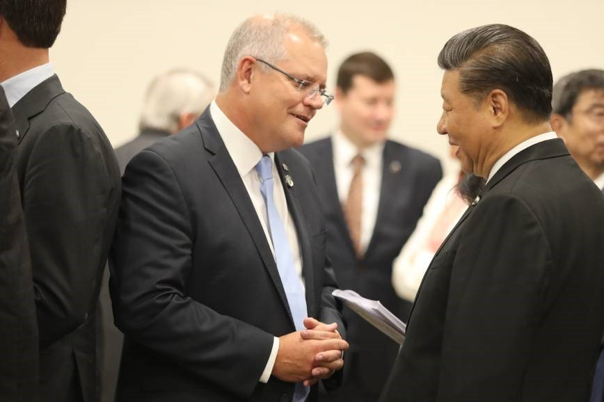Australian Prime Minister Scott Morrisson (left) and Chinese President Xi Jinping. (Canberra Times, Adam Taylor photo)
