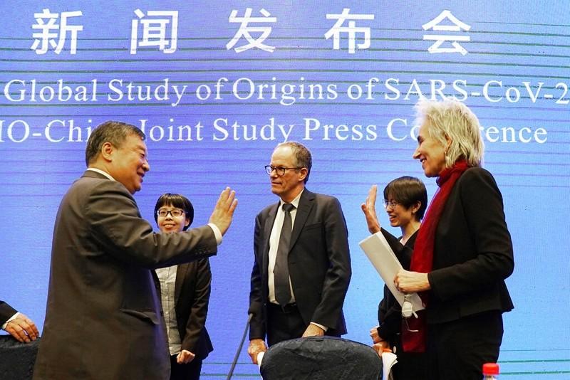 中國國家衛生健康委員會體制改革司司長梁萬年(左)出席世衛記者會(圖/美聯社)