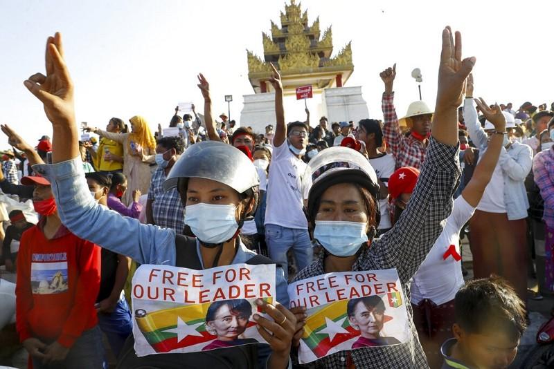 緬甸反軍政府示威(圖/美聯社)