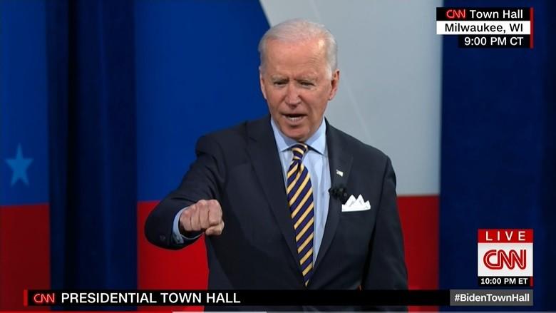 Biden speaking at CNN town hall on Feb. 16.(CNN screenshot)