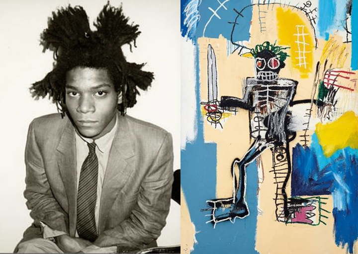 Jean-Michel Basquiat, and his painting 'Warrior.' (Wikipedia Commons/Christie's photo)