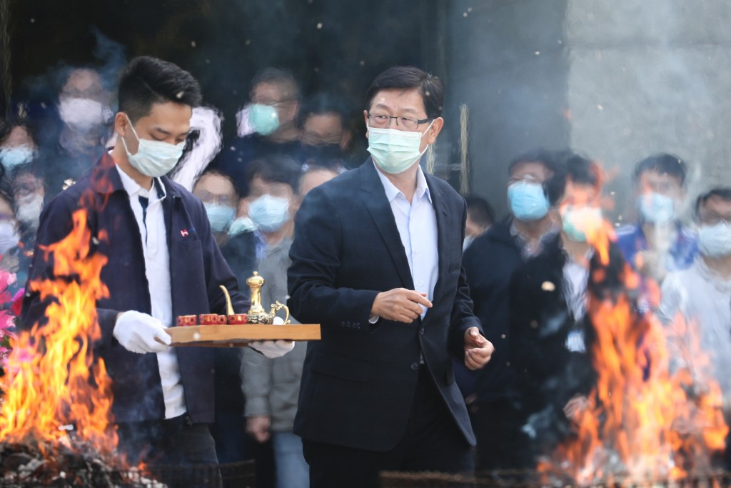 Foxconn Chairman Young Liu (front, right) at a Lunar New Year ceremony Saturday