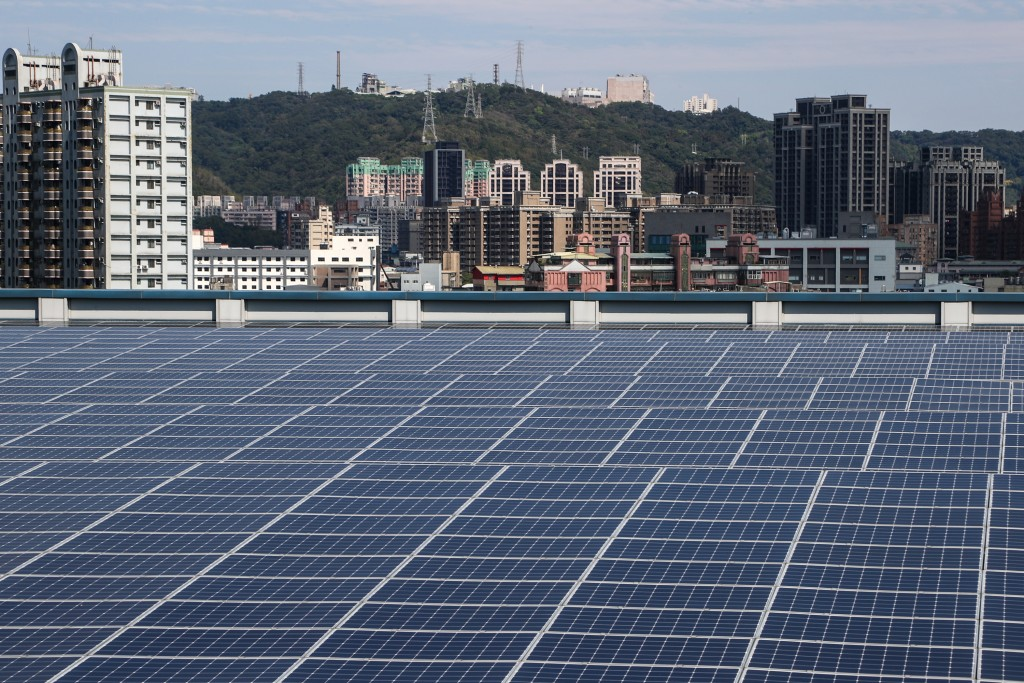 Solar panels on the roof of a factory in Shulin, New Taipei City