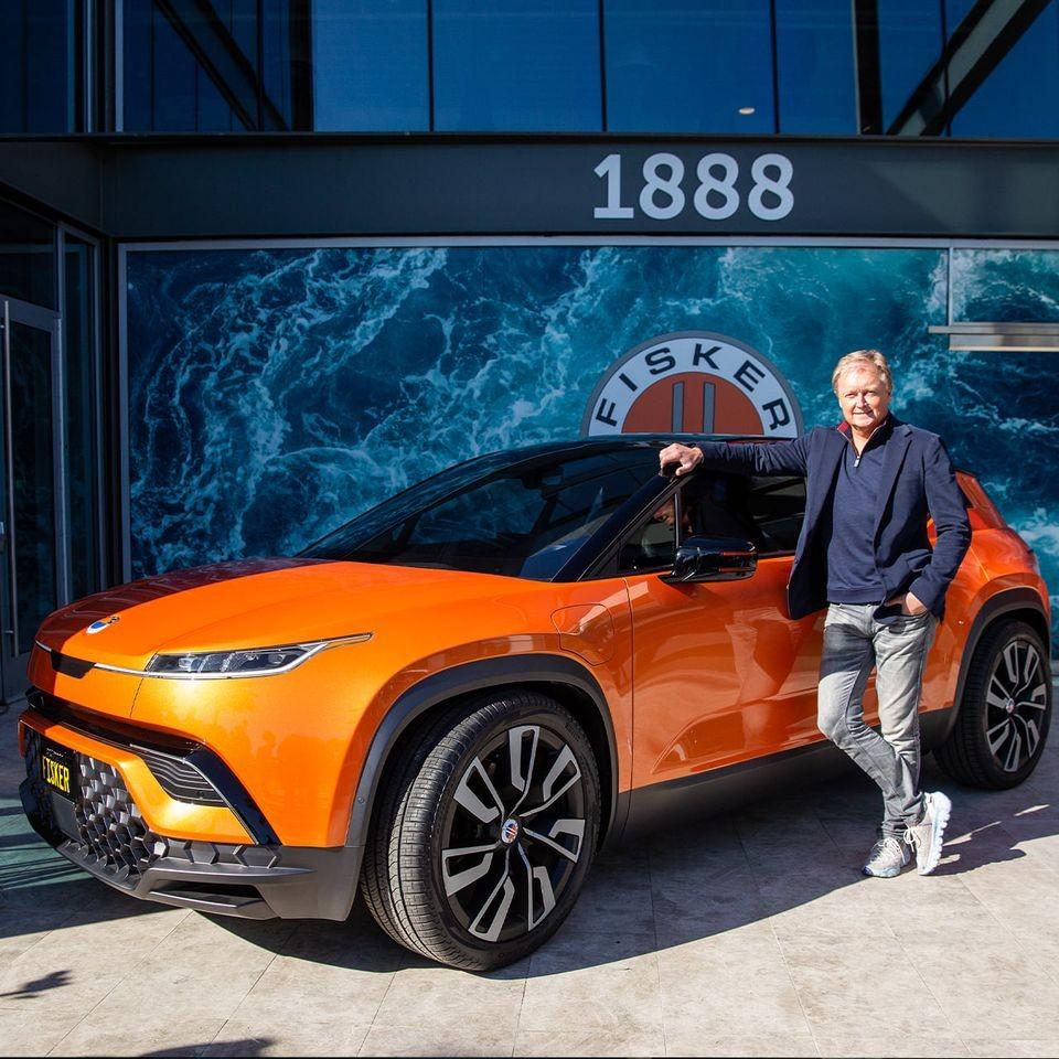 Fisker Chairman and CEO Henrik Fisker with the 2022 Ocean EV (Facebook, FiskerInc photo)
