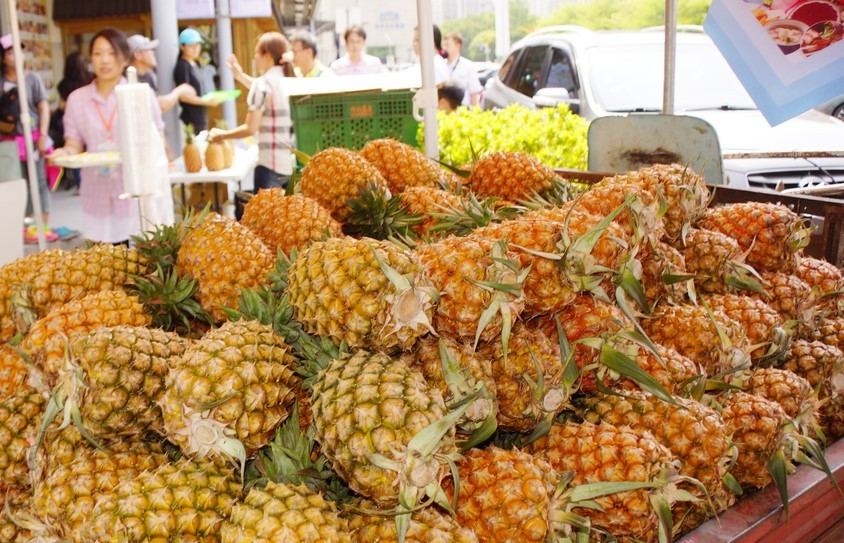 Pineapples for sale at market in Taiwan.