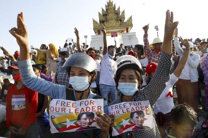 Protestors at Feb. 10 demonstration in Mandalay call for restoration of democracy.