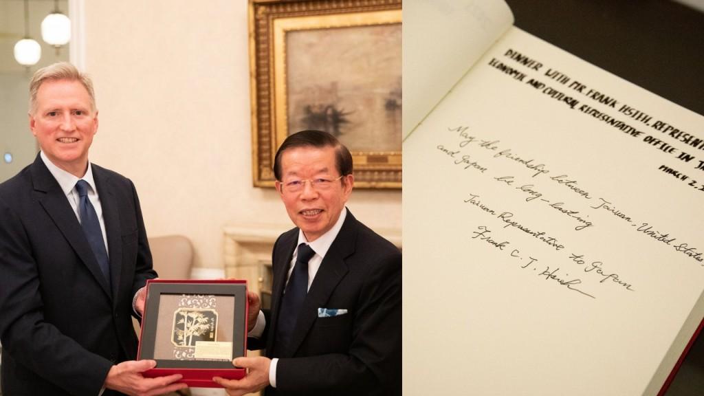 台北駐日經濟文化代表處代表謝長廷(左2)本週赴邀至美國駐日大使官邸交流。(圖取自twitter.com/USAmbJapan)