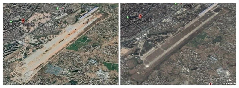 Huian Air Base after expansion (left), before expansion (right). (Google Earth images)