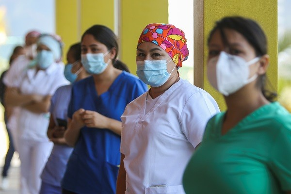 Stock photo of health workers in Hospital Maria in Tegucigalpa,Honduras, waiting to take Moderna COVID-19 vaccine. (Reuters photo)