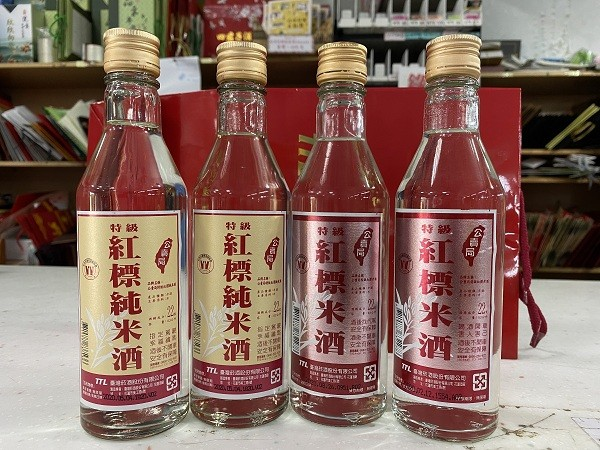 TTL Red-Label Pure Rice Wine (left), Red-Label Rice Wine