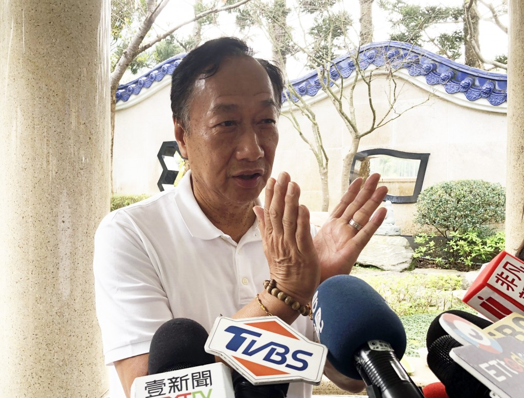 Foxconn Technology founder Terry Gou speaking to reporters Friday