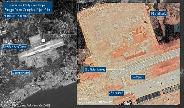 Construction in China's Fujian seen from space. (Twitter,@detresfa_ images)
