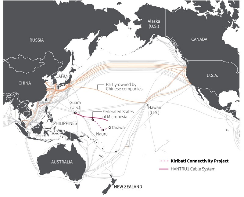 Undersea cables in the Pacific (Reuters image)