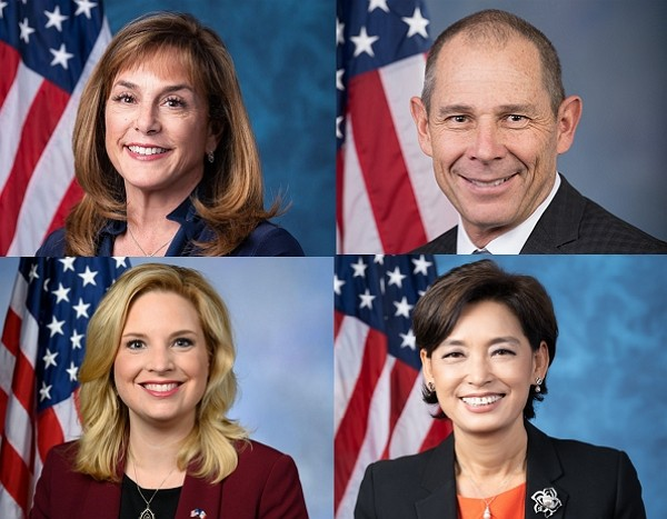 Congress members Lisa McClain (top left), John Curtis, Ashley Hinson, Young Kim (Wikimedia Commons photos)