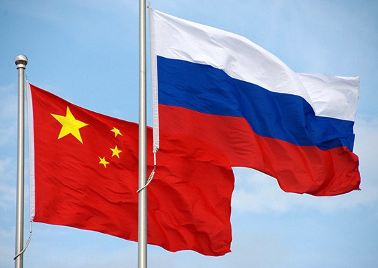 The flags of China and Russia