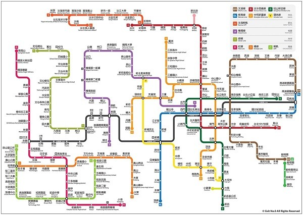 Map showing all MRT, LRT, and THSR routes in Taiwan. (Facebook, 零號出口 Exit No.0 illustration)