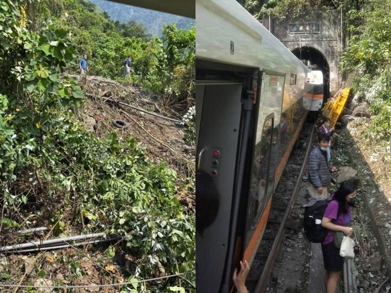 網友陸續提供事故現場照片,除了李義祥還有其他人站在邊坡上;隨後該男還穿上一件深色雨絨外套出現在出軌的太魯閣號列車旁。(圖取自PTT網頁)