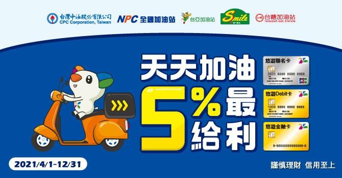 台灣悠遊聯名卡幫你加油 年底前單筆滿百元享5%回饋