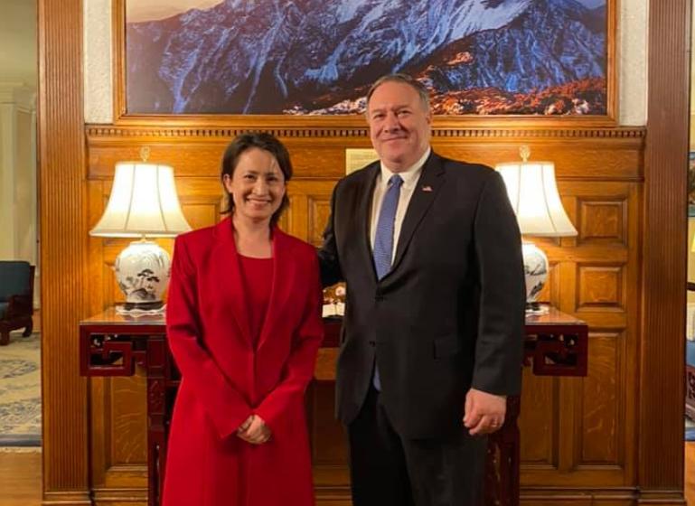 我駐美大使蕭美琴日前與前國務卿龐培歐(Mike-Pompeo)會晤(圖/蕭美琴臉書)