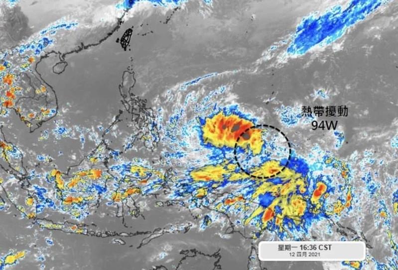Satellite image showing tropical depression forming near Guam. (Facebook, Wu Sheng-yu image)