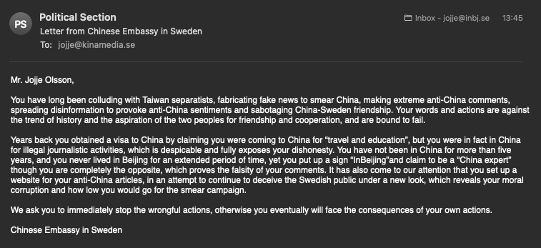 Chinese embassy unwittingly admits Taiwan is independent in threatening email to Swedish journalist