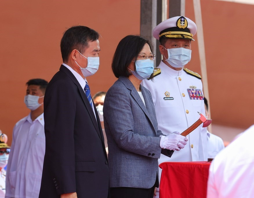 President Tsai Ing-wen at Tuesday morning's ship launching ceremony.