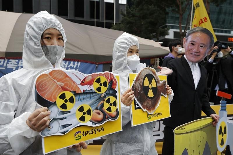 南韓抗議日本將核廢水排入太平洋之決定(圖/美聯社)