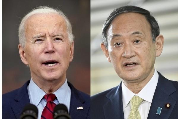 President Joe Biden, Prime Minister SugaYoshihide. (AP, Reuters photos)