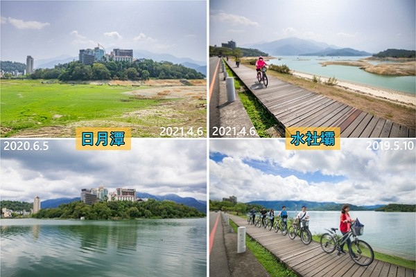 Before-and-after photos of Sun Moon Lake (left) and Shuishe Dam highlight seriousness of Taiwan's drought. (Nantou County Government photo)