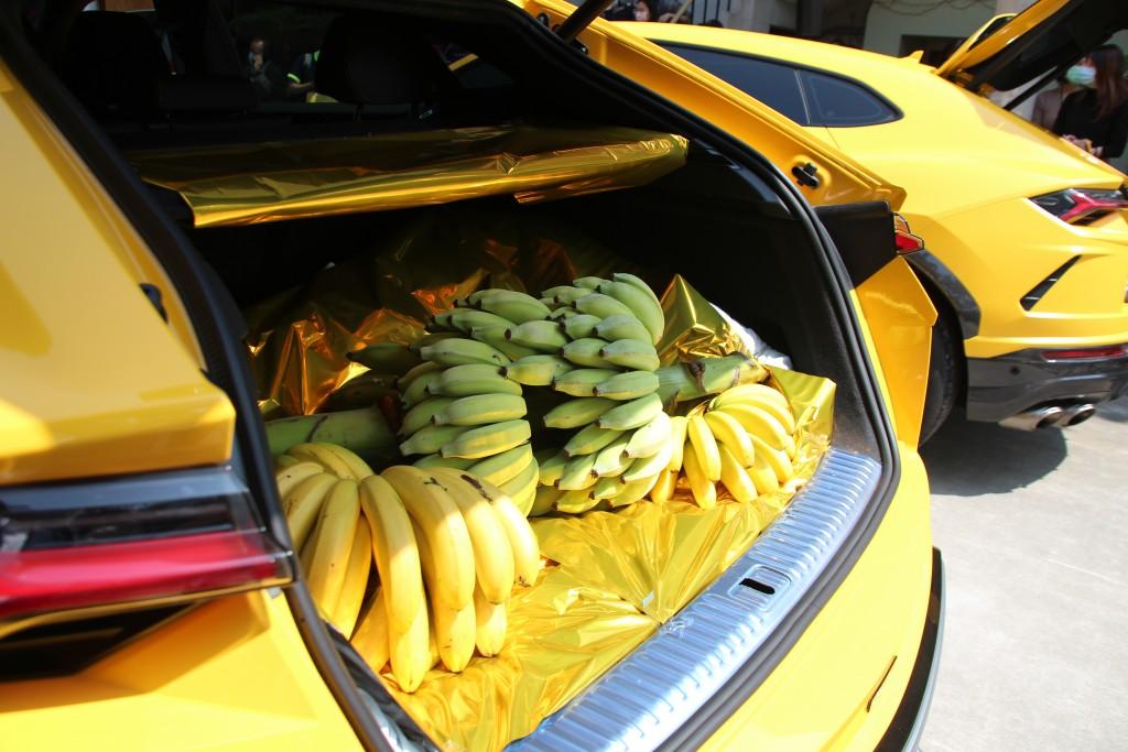 "Yellow Lamborghinis at the ""GO BANANAS"" exhibition in Taipei. (Taiwan News photo)"