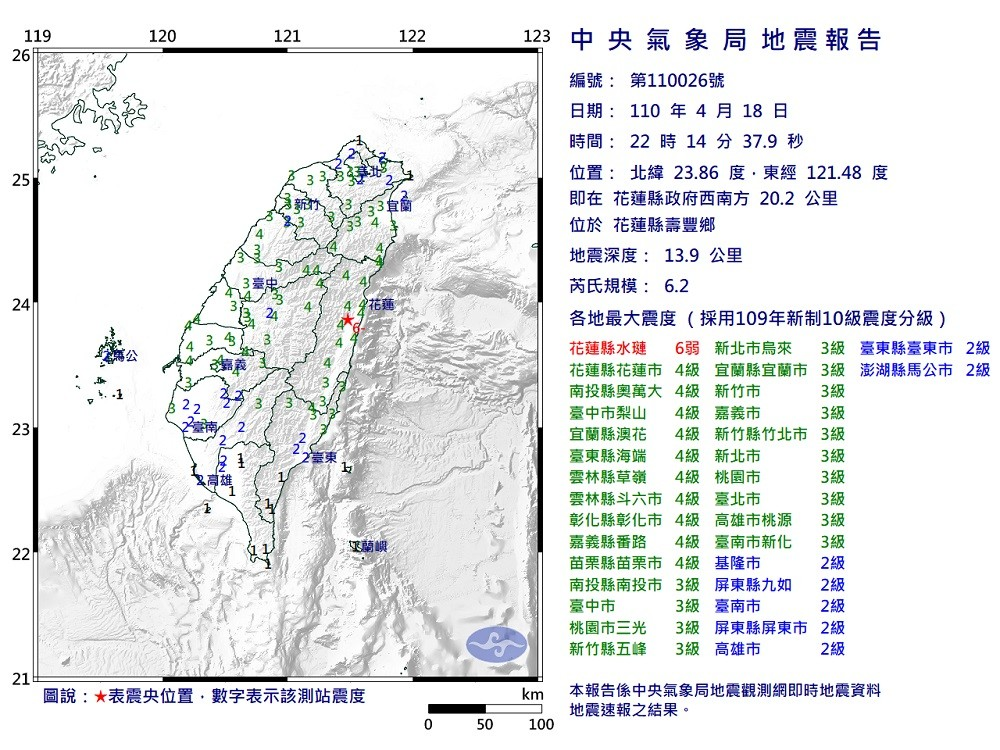 【最新】北台灣花蓮壽豐晚間接連發生5.8與6.2強震•間隔3分鐘全台有感! 各地科學園區、台積電初步無災情
