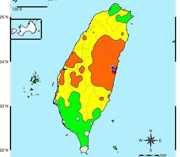 Map showing shockwaves felt during magnitude 6.2 earthquake.