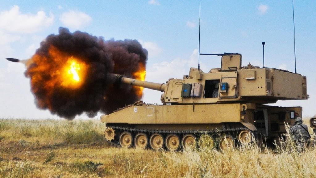 "M109A6 ""Paladin"" firing. (YouTube, Military Archive screenshot)"