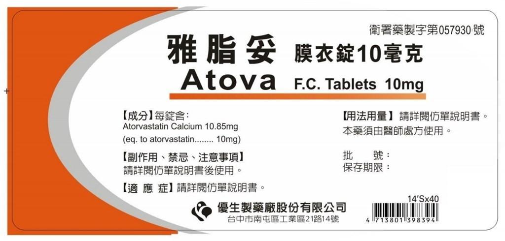 優生雅脂妥膜衣錠10毫克外盒。(圖/食藥署網站)