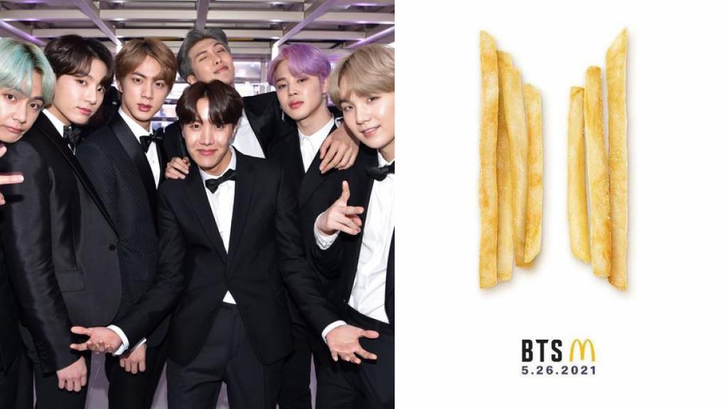 麥當勞昨(19日)於官方推特上發布了一則貼文,圖片是由7根薯條拼成的BTS團體logo。(圖/台灣英文新聞)