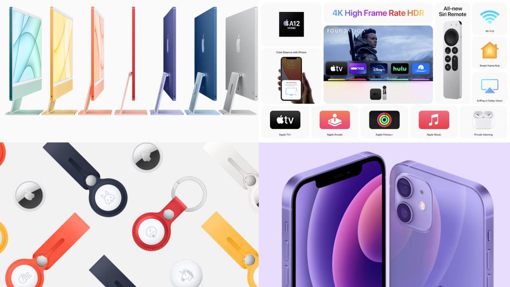 蘋果這次的春季發表會更新了藍牙追蹤器 AirTags 、全新iPad Pro、多色可選的 iMac、紫色 iPhone 12、...
