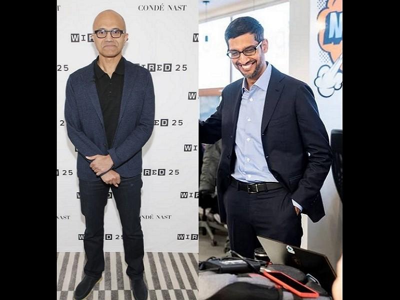 微軟執行長納德拉與谷歌執行長皮采(右)(圖/Getty Images/IG)