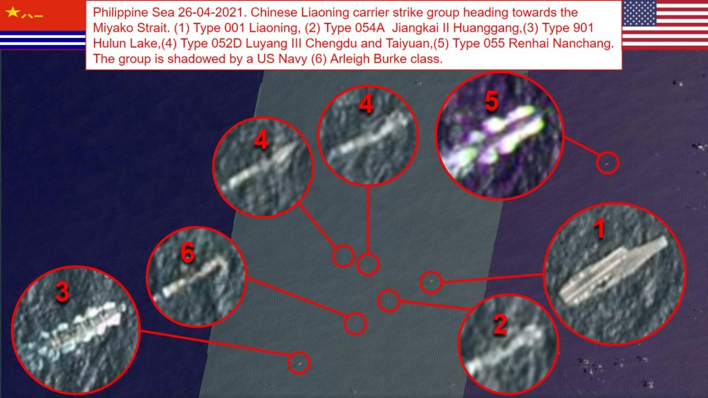 USN Arleigh Burke-class destroyer tails Liaoning strike group near eastern Taiwan