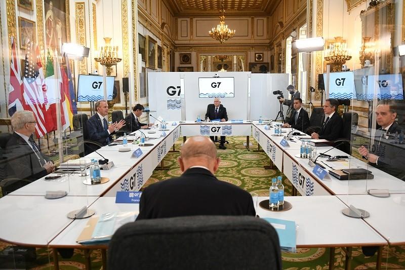 圖為G7外長4日在倫敦開會情形 (路透)