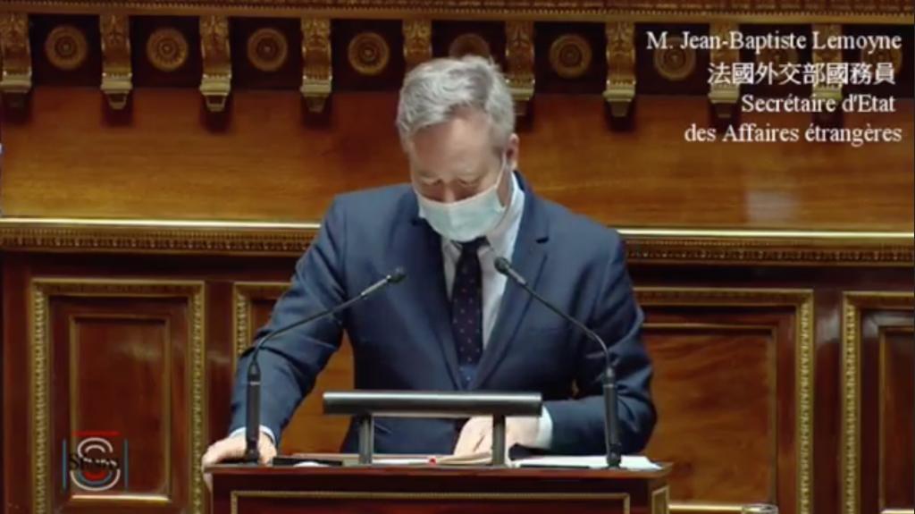 法國外交部國務員勒莫因代表法國政府表達對支持台灣明確且一貫的立場(來源:駐法國台北代表處臉書)