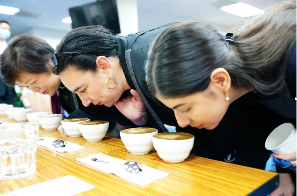 台灣咖啡協會吳副理事長(左一)帶領宏都拉斯駐臺寶蒂絲妲大使(右二)、尼加拉瓜駐臺李蜜娜大使(右一)一同品聞咖啡樣品的濕香氣 (來源:中美洲...